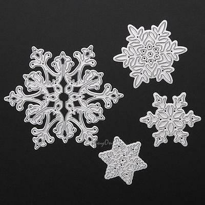 4pc Christmas Snowflake Metal Cutting Die DIY Stencil Scrapbook Album Card Decor