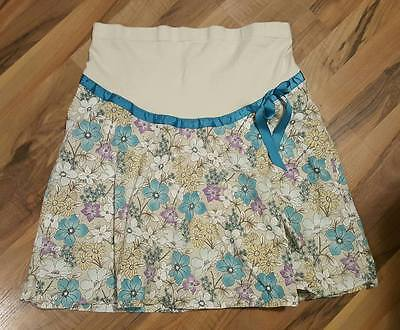 O Baby ~ Maternity Skirt ~ Floral ~ Turquoise ~ Stretch Comfort Panel ~ Size M
