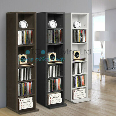 Black White DVD Storage Tower Rack Up To102CD unit shelf organiser archieve wood