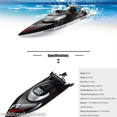 FeiLun FT012 2.4G 4CH Brushless 45KM / H RC Racing Boat Water Cooling System EU