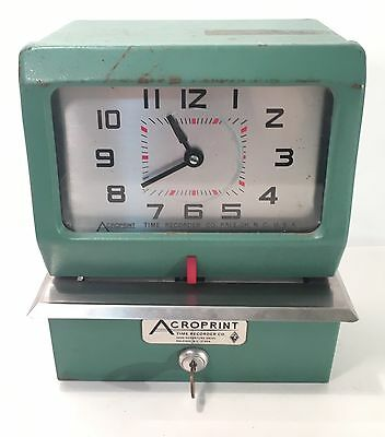 Acroprint Time Recorder, Model 150ER3  Manual Punch Time Clock w/Key- Not Tested