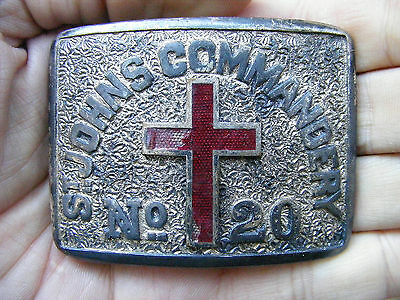 Vtg ST JOHN COMMANDERY Belt Buckle OHIO Youngstown Masonic Templar Mason RARE VG