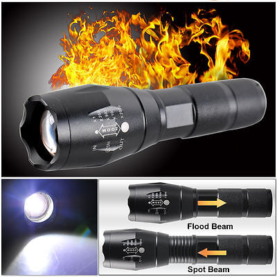 5000LM CREE T6 LED Zoomable Flashlight Waterproof Torch Camping Light Lamp 18650