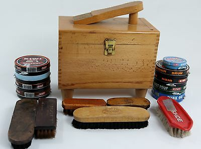 Vintage Shoe Shine Wood Finger Joint Box Kit w/ Brushes, Polish