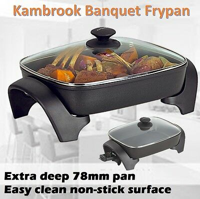 Large Electric Frypan Non Stick Sunbeam Family Banquet Fry Pan Meal Dinner Cooke