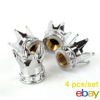 4x Universal Chrome Crown Style Car Tire Air Valve Stems Cover Caps Wheel Rims E