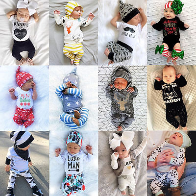 Newborn Baby Boy Girl Tops Romper +Pants Outfits Clothes Sunsuit UK STOCK lxj