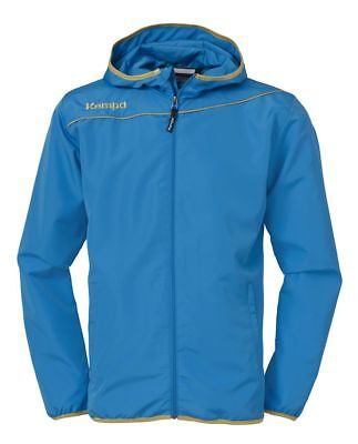 Kempa Womens Ladies Presentation Sports Full Zip Hooded Jacket Top Blue Gold
