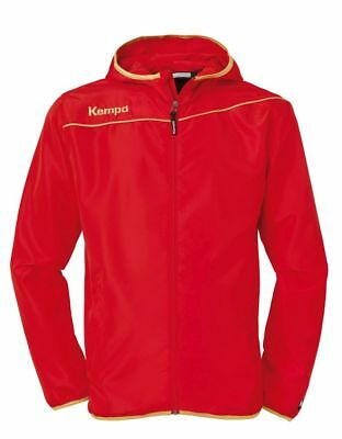 Kempa Womens Ladies Presentation Sports Full Zip Hooded Jacket Top Red Gold