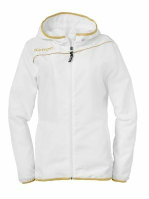 Kempa Womens Ladies Presentation Sports Full Zip Hooded Jacket Top White Gold