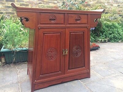 Teak Lacquered Chinese Altar Cabinet Style Drinks Cupboard