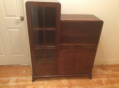 Contemporary Look Art Deco Secretaire with Glass Panel Door Bookcase. Circa 1930