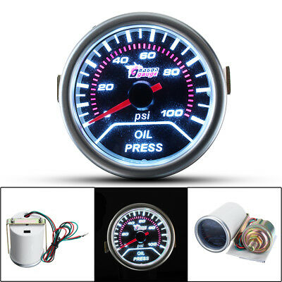 2'' 52MM CAR LED OIL PRESS PRESSURE 0-100 Psi GAUGE METER SMOKE LENS 12V
