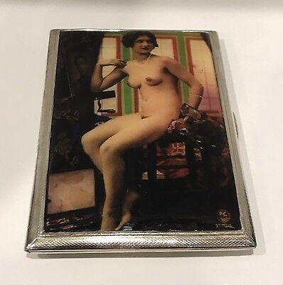 Vintage Sterling Silver Erotic Enameled Cigarette Case W.T.T & Co. England 1947