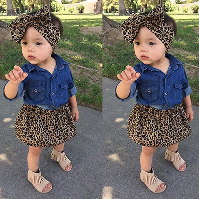 3PCs Kids Baby Clothes Girls Denim Shirt +Leopard Dress Skirts Outfits UK Stock