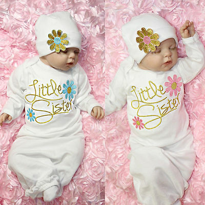 Little Sister Baby Girl Coming Home Outfit Set Clothing Baby Gown Hat UK Stock