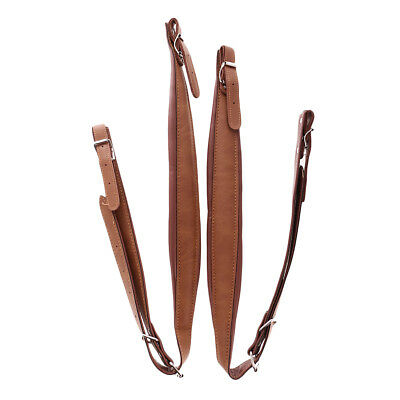 2pcs Coffee PU Leather Shoulder Straps Accordion Parts w/ Adjustable Length