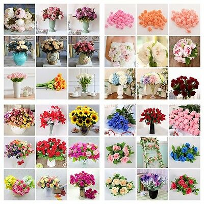 Artificial Peony Floral Fake Silk Flowers Leaf Wedding Bouquet Party Room Decors
