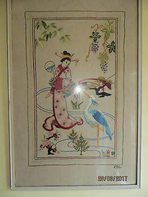 antique hand embroidered picture Japanese lady