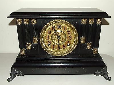 Antique Working 1800's Gilbert Footed Ebony Pillar Column Victorian Mantel Clock