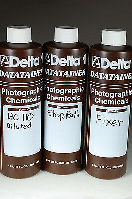 Lot of 3 Delta Datatainers Photo Darkroom Chemical 1 Pint Plastic Jugs