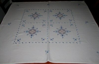 Vintage Hand Embroidered Tablecloth ~ Cotton ~ Square
