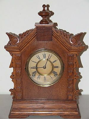 Antique Working 1894 ANSONIA Toronto Victorian Walnut Parlor Mantel Shelf Clock