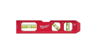 "Milwaukee 7"" Billet Torpedo Laser-Etched Ruled Magnetic Edge Pitch Vials Level"