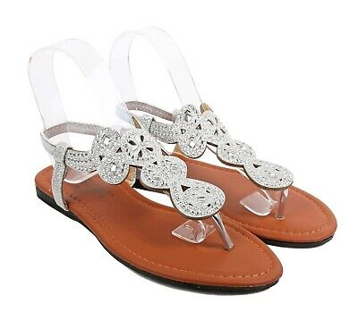0fd4e0d9f1950e Silver Fashion Sexy Blink Slingbacks T-Strap Slip On Only Womens Flat  Sandals