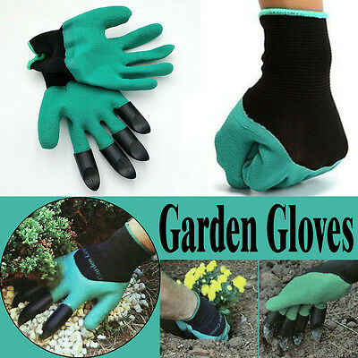 1 Pair Gardening Gloves for garden Digging Planting with 4 ABS Plastic Claws New