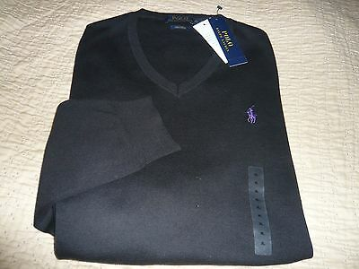 NWT Ralph Lauren Polo Pima Cotton V-Neck Black Sweater  size  Medium M