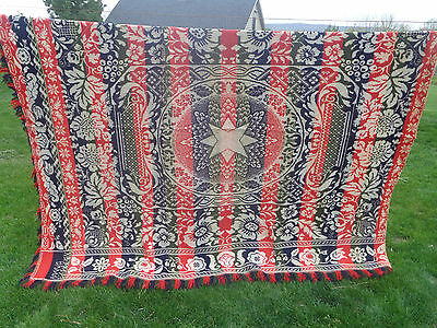 GORGEOUS Pennsylvania Coverlet -- signed C. Wiand, Allentown, dated 1848