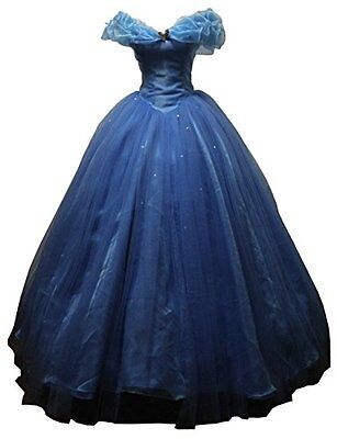 New Costumes Women's Cinderella Cosplay Dress Halloween Party Costume Blue for