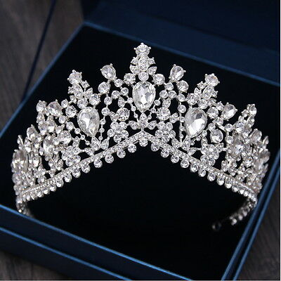 7cm High Large Adult Drip Crystal Wedding Bridal Party Pageant Prom Tiara Crown