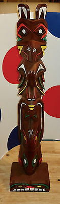 WOODEN/RESIN TOTEM POLE 26 INCH/INCHES THUNDERBIRD Anchorage Alaska CREED TOTEMS