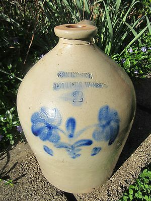 "Antique 2-Gal Stoneware Jug with cobalt design, marked ""Somerset Potters Work"""