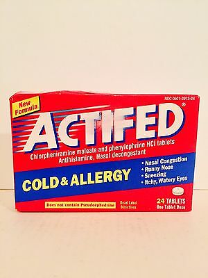 (1) ACTIFED Cold & Allergy Nasal Decongestant 24 Tablets Total Sealed
