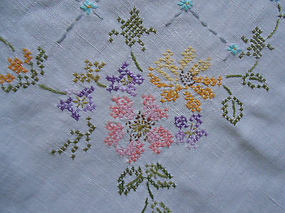 Beautiful Vintage Linen Cross Stitched Tablecloth