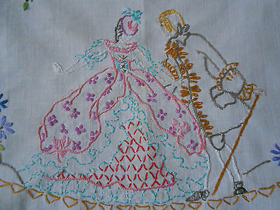 Beautiful Vintage Cotton Traycloth Hand Embroidered With A  Crinoline Lady