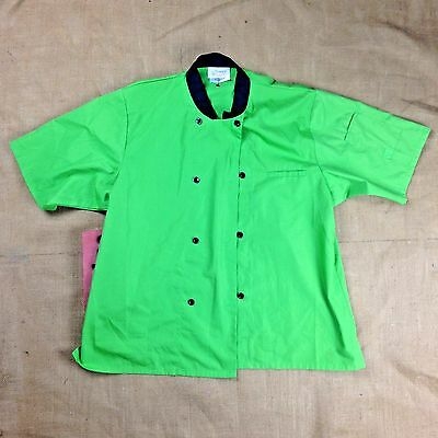 Happy Chef Chefs Coat Shirt Green Black Double Breasted S Style #305 Women's 2XL