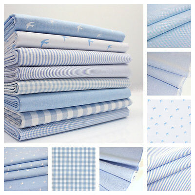 Chambray Cotton Fabric - Pale Blue - Swallows Birds Stars Stripes Gingham