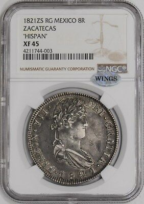 1821 ZS RG Mexico 8R Zacatecas 'Hispan' XF45 NGC ~ WINGS