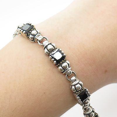Vtg 925 Sterling Silver Real Melanite Gemstone Link Bracelet 7""