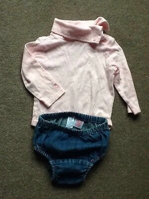 Baby GAP Girls Pink Long Sleeved Top & Blue Denim Bottoms Outfit age 3-6 months