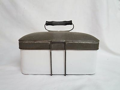 Antique/primitive White Enamel Lunch Pail-Manning Bowman