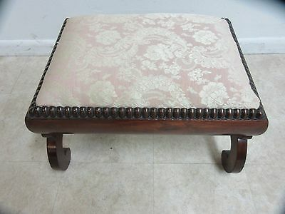 Antique Empire Carved Foot Stool Ottoman Bench Seat