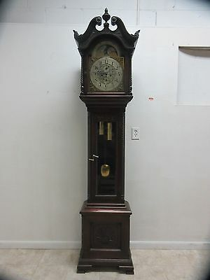 Antique J E Caldwell Mahogany Carved Grandfathers Clock Sun Moon Phase