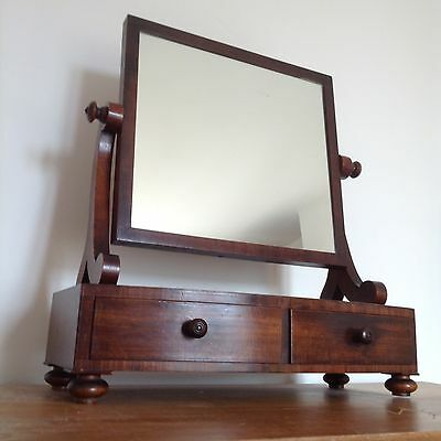 Antique Bow Fronted Swing Toilet Mirror Early 19c Mahogany 2 Drawers