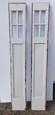Pair Antique Vintage Arts and Crafts Entry Door Sidelights Mission 80x12 407-17R