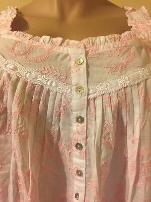 Eileen west nightgown  Large 100% Cotton  All Over Embroidery  Ballet Gown Pink